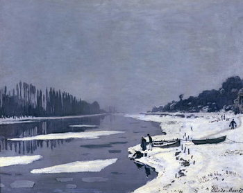 Ice floes on the Seine at Bougival, c.1867-68 Kunsttryk