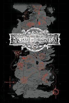 Umetniški tisk Igra prestolov - Zemljevid