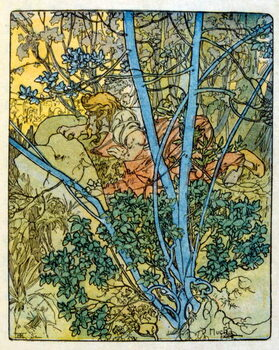 Obrazová reprodukce Illustration by Alphonse Mucha from Clio a work by French author Anatole France. 1900. Mucha . was a Czech Art Nouveau painter
