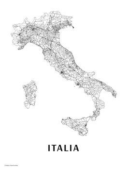 Mapa Itálie black & white
