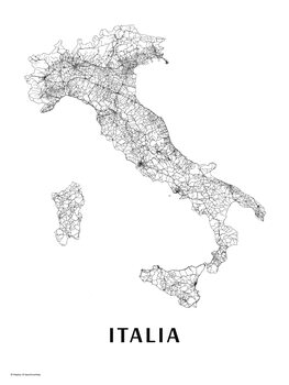 Harta Italy black & white