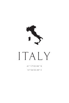 Ilustrace Italy map and coordinates
