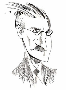 Kunsttrykk James Joyce - caricature of Irish writer