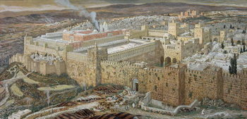 Obrazová reprodukce Jerusalem and the Temple of Herod in Our Lord's Time, illustration from 'The Life of Christ', c.1886-94 (w/c & gouache on paperboard)