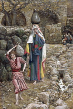 Konsttryck Jesus and His Mother at the Fountain