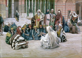 Obrazová reprodukce Jesus Speaking in the Treasury, illustration for 'The Life of Christ', c.1886-96