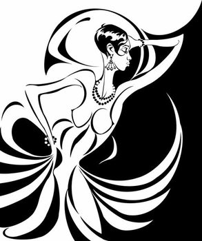 Kunsttryk Josephine Baker, American dancer and singer , b/w caricature, in profile