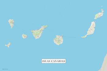 Mapa Kanárské ostrovy color