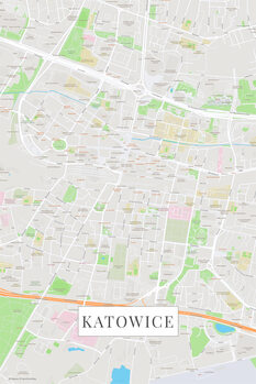 Mapa Katovice color