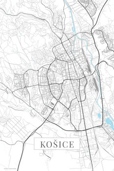 Mapa Košice white