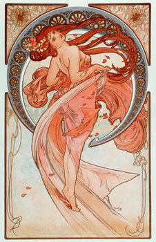 "La danse Lithographs series by Alphonse Mucha , 1898 - """" The dance"""" From a serie of lithographs by Alphonse Mucha, 1898 Dim 38x60 cm Private collection Reproduction de Tableau"