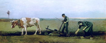 Labourer and Peasant Planting Potatoes, 1884 Kunstdruk