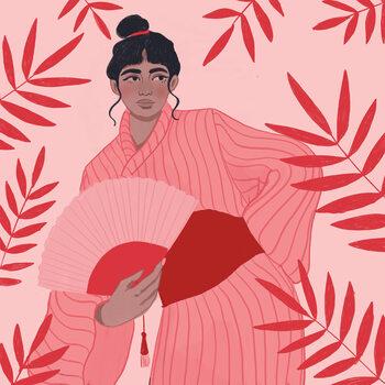 Ilustracja Lady with a fan