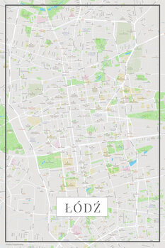 Mapa Lodz color