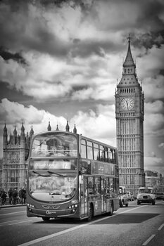 Ilustrace LONDON Monochrome Houses of Parliament and traffic