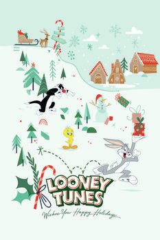 Poster Looney Tunes - Kerstmis