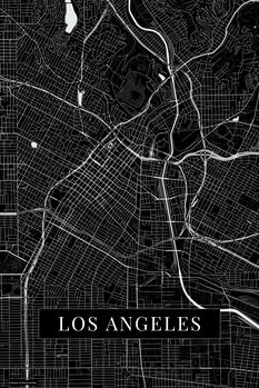 Mapa Los Angeles black