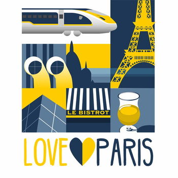 Konsttryck Love Paris