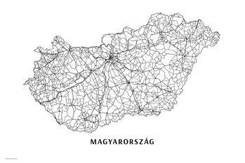 Mapa Maďarsko black & white
