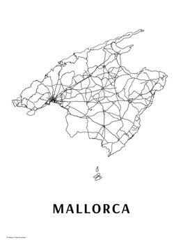 Mapa Mallorca black & white