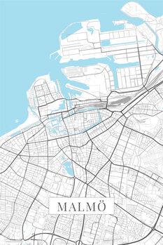 Mapa Malmo white