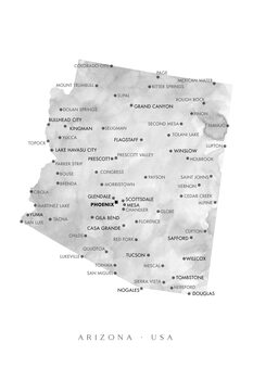 Karta Map of Arizona in gray watercolor