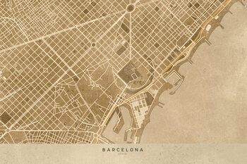 Zemljevid Map of Barcelona downtown in sepia vintage style
