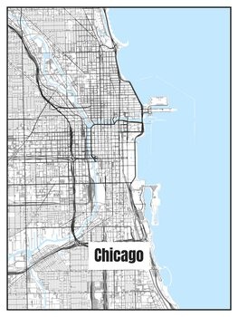 Illustration Map of Chicago