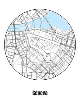 Ilustrace Map of Geneva