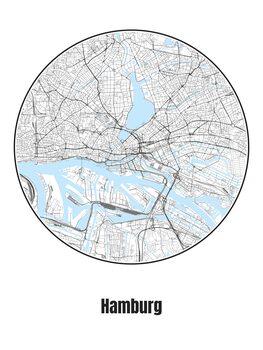 Illustration Map of Hamburg