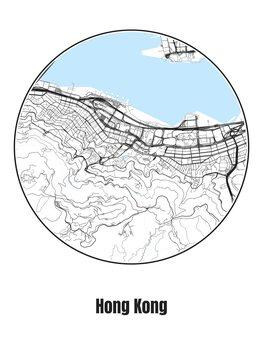 Ilustrace Map of Hong Kong