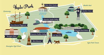Reproducción de arte Map of Hyde Park