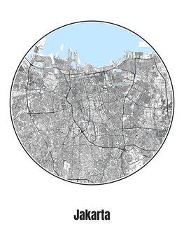 Ilustración Map of Jakarta