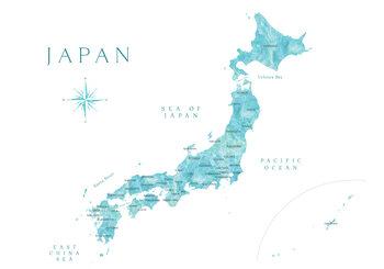 Mapa Map of Japan in aquamarine watercolor