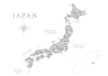 Karta Map of Japan in gray watercolor