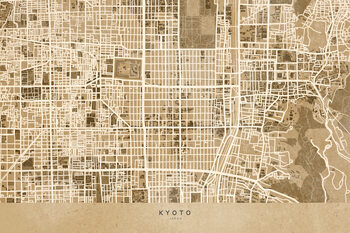 Mapa Map of Kyoto, Japan, in sepia vintage style