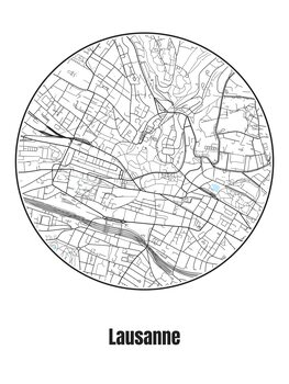 Ilustrace Map of Lausanne