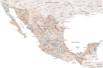 Mapa Map of Mexico in neutral watercolor