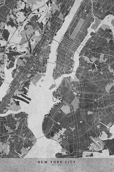 Mapa Map of New York City in gray vintage style