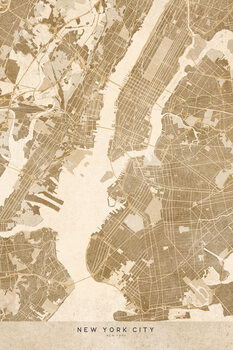 Zemljevid Map of New York City in sepia vintage style