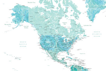 Carte Map of North America in aquamarine watercolor