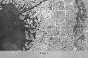 Mapa Map of Osaka, Japan, in gray vintage style