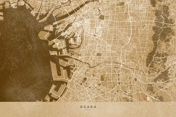 Karta Map of Osaka, Japan, in sepia vintage style