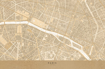 Zemljevid Map of Paris in sepia vintage style