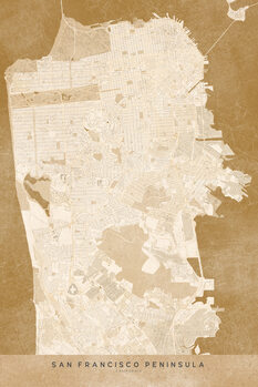 Zemljevid Map of San Francisco Peninsula in sepia vintage style