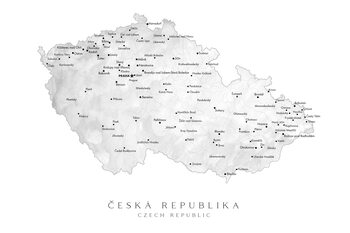 Kaart Map of the Czech Republic with provinces