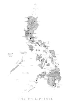 Karta Map of the Philippines in gray watercolor