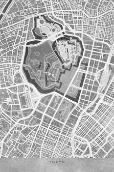 Mapa Map of Tokyo, Japan, in gray vintage style