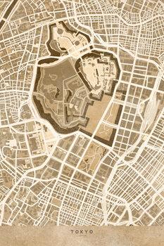 Karta Map of Tokyo, Japan, in sepia vintage style