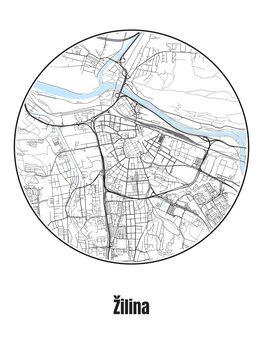 Illustration Map of Žilina